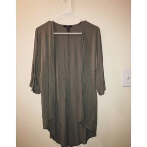 Open front mid sleeve cardigan